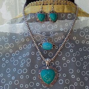 Blue Howlite Earrings and Pendant